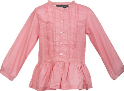 Lil Poppets Casual, Party Full Sleeve Solid Girl's Pink Top