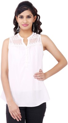 Pear Blossom Casual Sleeveless Solid Women's White Top