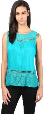 The Vanca Formal Sleeveless Self Design Women's Blue Top at flipkart