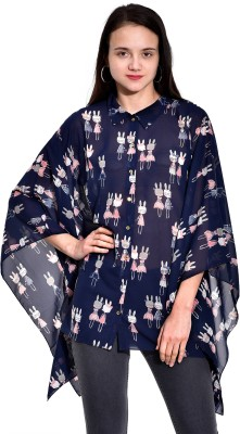 I Know Casual Butterfly Sleeve Printed Women,s Dark Blue Top