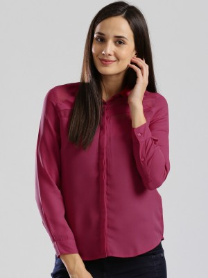 D Muse by DressBerry Casual Full Sleeve Solid Women's Pink Top