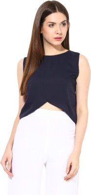 Miss Chase Casual Sleeveless Solid Women's Blue Top
