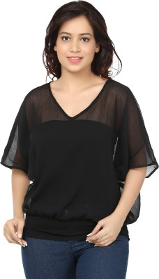 Eves Pret A Porter Casual Kimono Sleeve Solid Women's Black Top