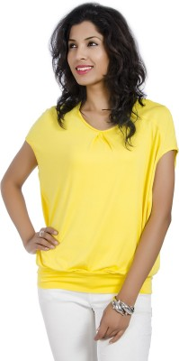 IDK Casual Short Sleeve Solid Women's Yellow Top