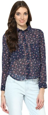 Prakum Casual Full Sleeve Floral Print Women,s Blue Top
