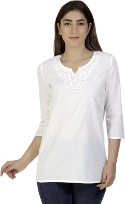Gudi Party 3/4 Sleeve Embroidered Women's White Top