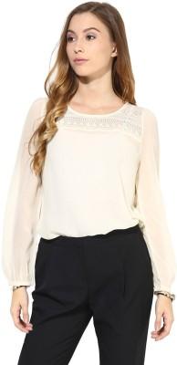 La Zoire Formal, Lounge Wear, Party Full Sleeve Solid Women's Beige Top