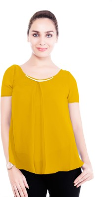 Revoure Formal, Casual Short Sleeve Solid Women's Yellow Top