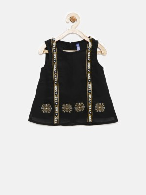 Yk Casual Sleeveless Solid Girl's Black Top