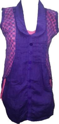 Deesha Casual Sleeveless Self Design Women's Blue, Pink Top