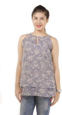 Lady Stark Casual Sleeveless Floral Print Women's Grey Top