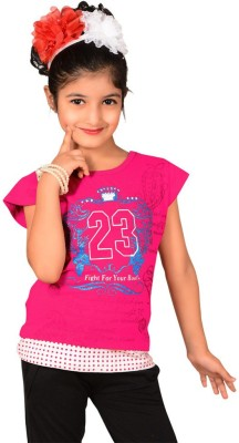 Sweet Angel Casual Short Sleeve Printed Girl's Pink Top