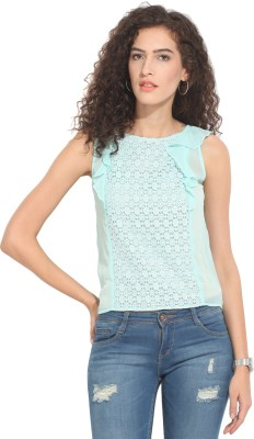Hook & Eye Casual Sleeveless Solid Women's Blue Top