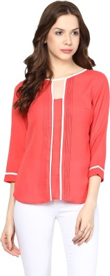 Citrine Casual 3/4 Sleeve Solid Women's Red Top
