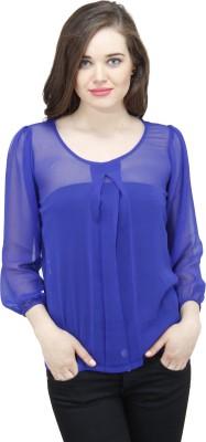 Osumfab Casual 3/4 Sleeve Solid Women's Blue Top