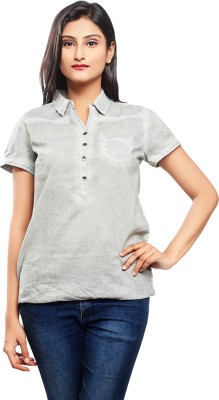 No Code Casual, Formal, Party, Lounge Wear, Sports Short Sleeve Solid Women's Grey Top