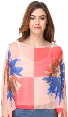 code 999 Casual Butterfly Sleeve Floral Print Women's Multicolor Top