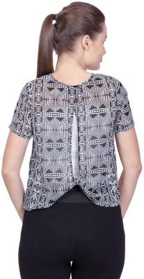 Stylestone Casual, Formal, Lounge Wear, Beach Wear, Party Short Sleeve Printed Women's Black, White Top