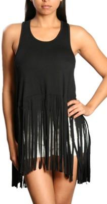 Danzon Casual, Beach Wear, Party Sleeveless Solid Women's Black Top