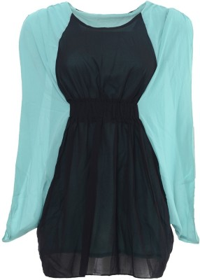 Desi Panache Casual, Party Full Sleeve Solid Women's Black, Blue Top