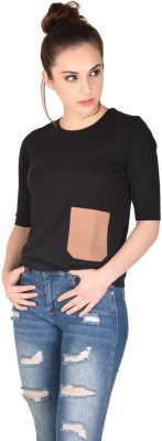 The Glu Affair Casual 3/4 Sleeve Solid Women's Black Top