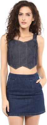 Roving Mode Casual Sleeveless Solid Women's Blue Top