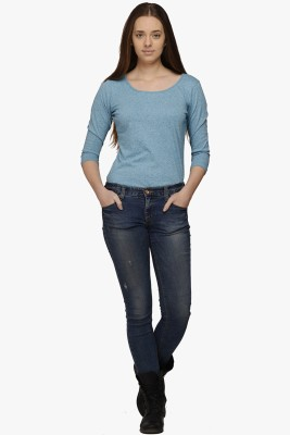 Fugue Casual 3/4 Sleeve Solid Women's Blue Top