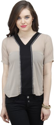 Osumfab Casual Short Sleeve Solid Women's Beige, Black Top