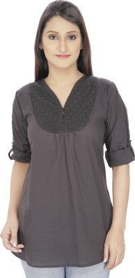 Franclo Casual Roll-up Sleeve Solid Women's Black Top