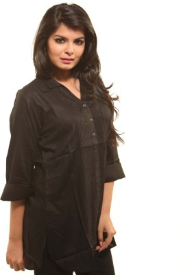 Swank Casual 3/4th Sleeve Solid Women's Black Top at flipkart