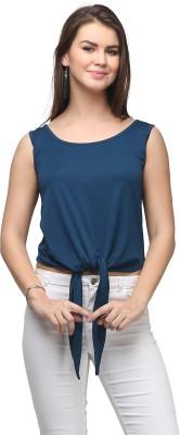 Eavan Casual Sleeveless Solid Women's Blue Top