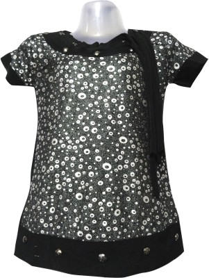 Threads Casual Short Sleeve Graphic Print Girl's Black Top