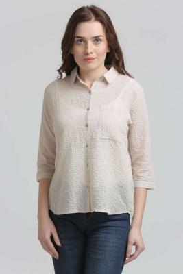 Moda Elementi Casual 3/4 Sleeve Solid Women's Beige Top