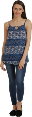 Holidae Casual Sleeveless Printed Women's Blue, White Top