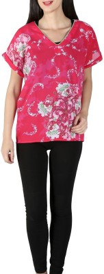 Isadora Casual Short Sleeve Floral Print Women's Pink Top