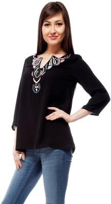 Orous Casual 3/4 Sleeve Printed Women's Black Top