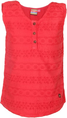 VITAMINS Casual Sleeveless Embellished Girl's Red Top