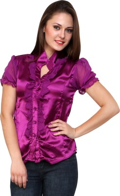 Jake Chiramel Casual Short Sleeve Solid Women's Purple Top