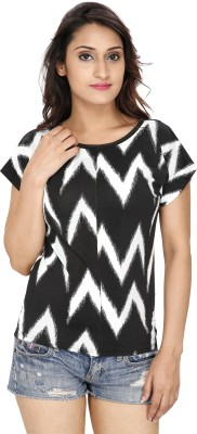 Franclo Party Short Sleeve Striped Women's Black Top