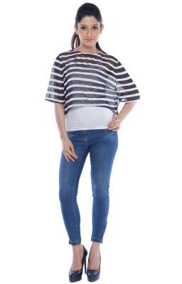 Designeez Casual Short Sleeve Striped Women's Black Top