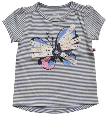 Babeez Casual Short Sleeve Striped Baby Girl's Multicolor Top