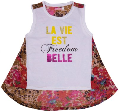 Roses By Rose Vanessa Casual Sleeveless Printed Girl's Multicolor Top