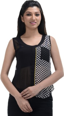 No Code Party Sleeveless Printed Women's Black Top