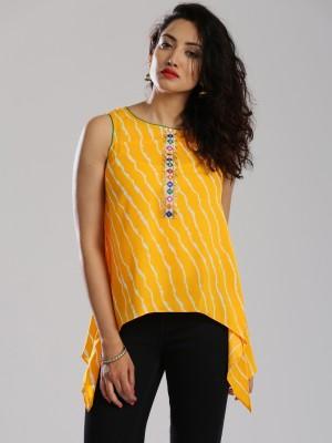 Anouk Casual Sleeveless Printed Women's Yellow Top