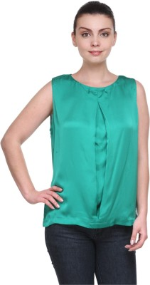 Kami Party Sleeveless Solid Women's Green Top