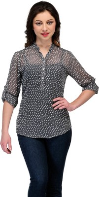 Colornext Casual Roll-up Sleeve Printed Women,s White, Grey Top