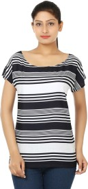 Ur Sense Casual Short Sleeve Striped Women's White, Black Top