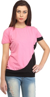 Cation Casual Short Sleeve Solid Women's Pink Top at flipkart