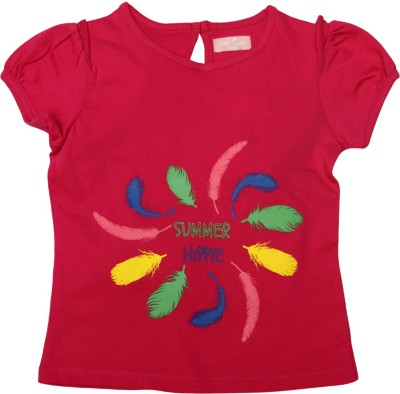 Jus Cubs Casual Short Sleeve Embroidered Girl's Red Top