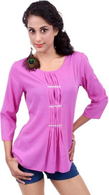 Palette Casual 3/4 Sleeve Embroidered, Solid Women's Purple Top